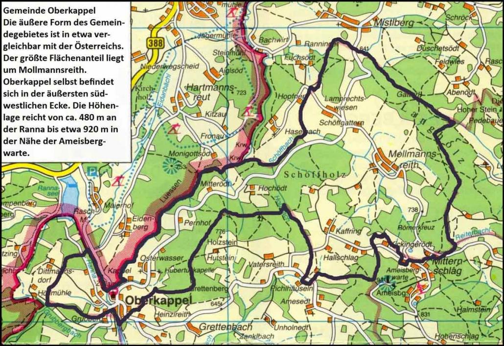Das Gemeindegebiet der Katastralgemeinde Oberkappel hat eine außergewähnliche Form: Sie ähnelt einem Mini-Österreich, an dessen Westspitze statt Bregenz das Ortszentrum von Oberkappel liegt.